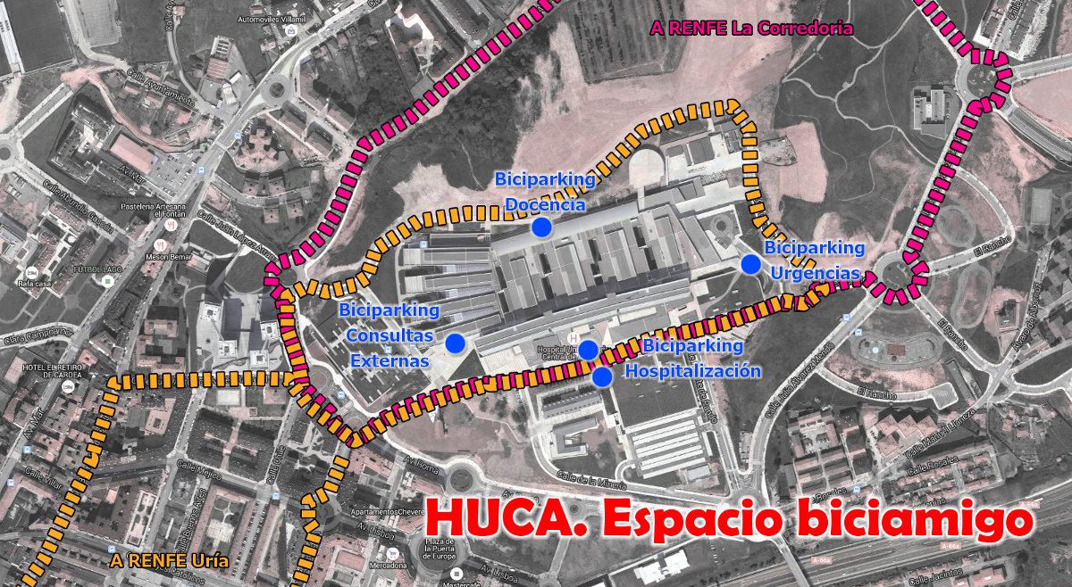 Mapa Carril Bici Gijon.Ciclismo Urbano Oviedo
